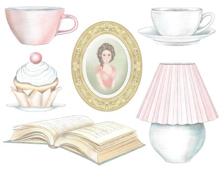 Set of cakes, lamp, books, vase with flowers and glass of coffee isolated on white background. Watercolor and lead pencil graphic hand drawn illustration