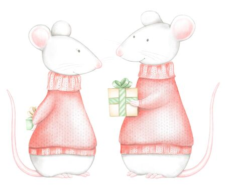Set of two mice in red Christmas sweaters with gifts boxes isolated on white background. Watercolor and digital graphic hand drawn illustration