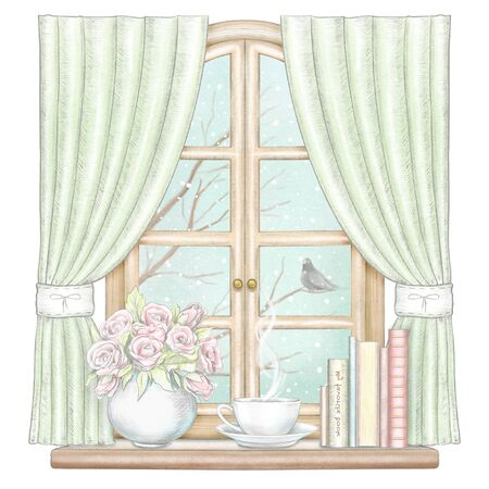 Composition with coffee, books and vase with roses on the sill of the window with green curtains and winter landscape isolated on white background. Watercolor and lead pencil graphic hand drawn illustration Stock Photo