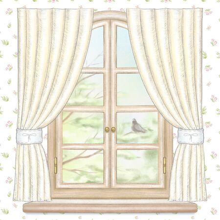 Classic wooden arch window with yellow curtains and summer landscape with tree branches and dove on floral wallpaper. Watercolor and lead pencil graphic hand drawn illustration Banco de Imagens