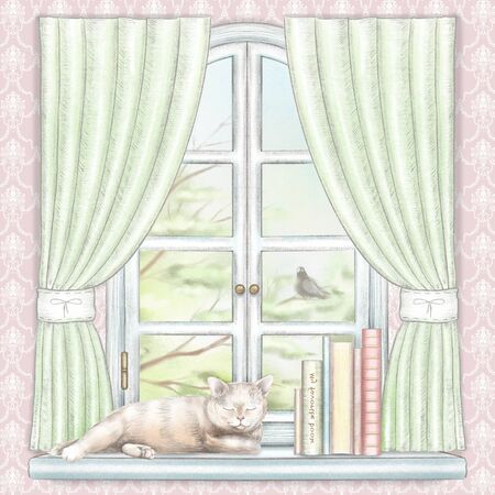 Composition with books and cat sleeping on the sill of the window with green curtains and  summer landscape on pink wallpaper. Watercolor and lead pencil graphic hand drawn illustration