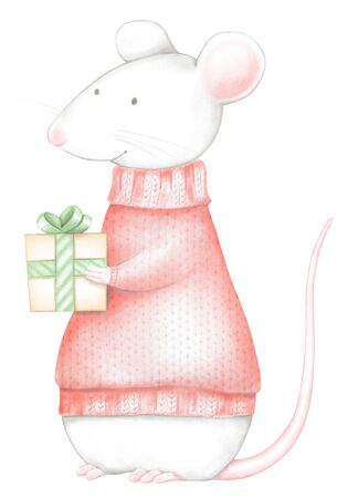 Mouse in red Christmas sweaters with gifts box isolated on white background. Watercolor and digital graphic hand drawn illustration