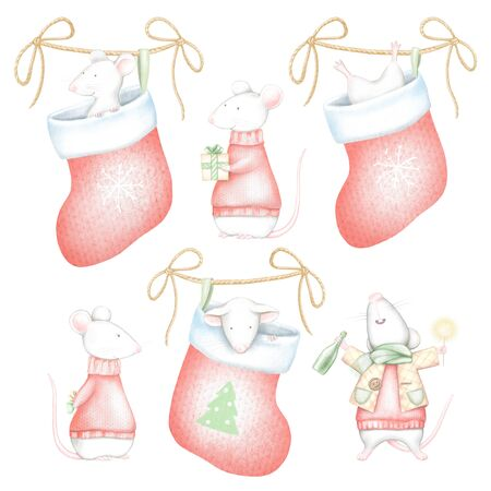 Set of white mice in red Christmas sweaters and socks isolated on white background. Watercolor and digital graphic hand drawn illustration