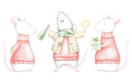 Set of three white mice in red Christmas sweaters isolated on white background. Watercolor and digital graphic hand drawn illustration