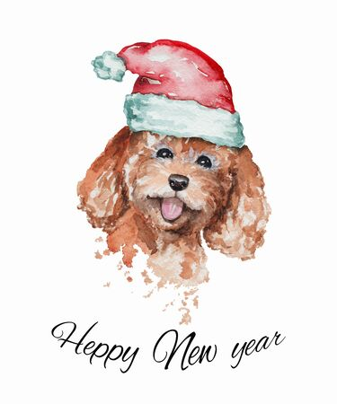 Cute smiling redhead poodle dog portrait in a red Santas cap. Watercolor hand drawn illustration
