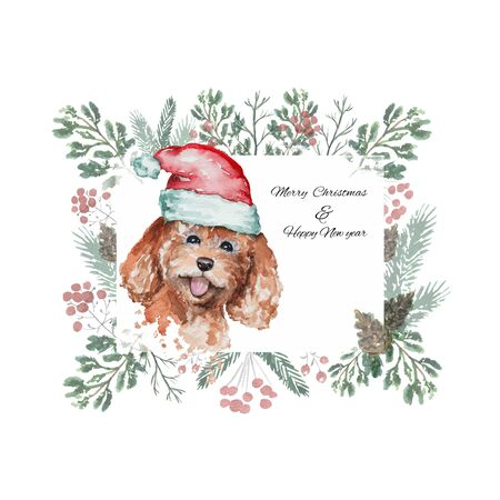 Christmas frame with cute dog poodle in a red big Santas cap. Watercolor hand drawn illustration