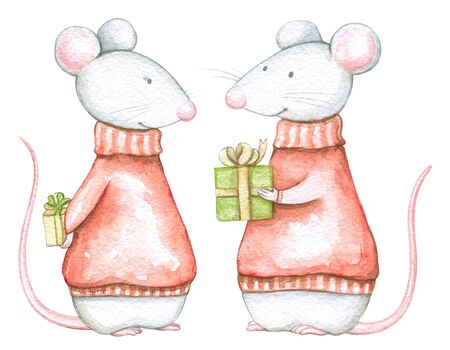 Set of two mice in red Christmas sweaters with gifts boxes isolated on white background. Watercolor hand drawn illustration