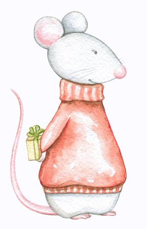 Mouse in red Christmas sweaters with gifts box isolated on white background. Watercolor hand drawn illustration Stock Photo