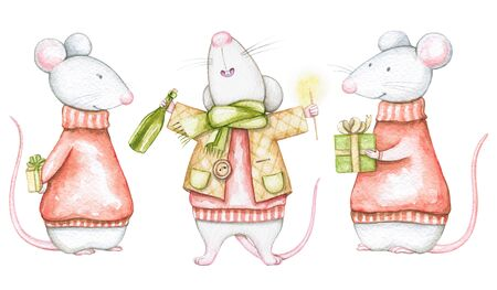 Set of three white mice in red Christmas sweaters isolated on white background. Watercolor hand drawn illustration Banco de Imagens