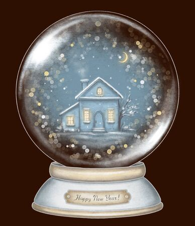Winter house in snowball decoration snowflakes and sparkles on dark blue background. Hand drawn illustration