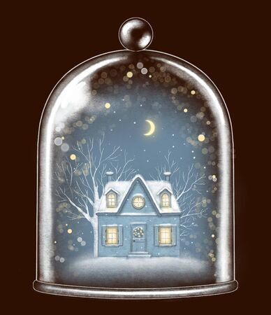 Winter house in glass cap decoration snowflakes and sparkles on dark blue background. Hand drawn illustration