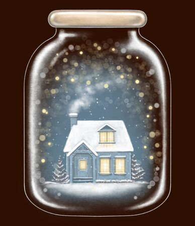 Winter house in glass jar decoration snowflakes and sparkles on dark blue background. Hand drawn illustration