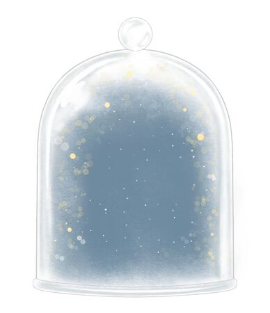 Winter glass cap decoration snowflakes and sparkles on dark blue background. Hand drawn illustration isolated on white background