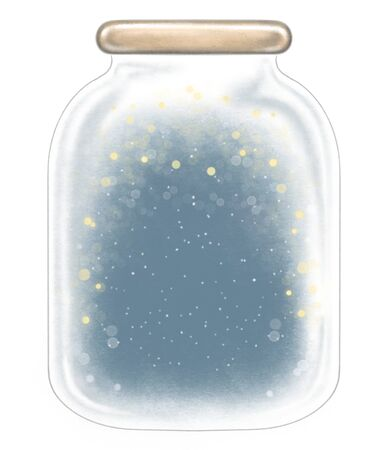 Winter glass jar decoration snowflakes and sparkles on dark blue background. Hand drawn illustration isolated on white background
