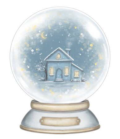 Winter house in snowball decoration snowflakes and sparkles isolated on white background. Hand drawn illustration Banco de Imagens