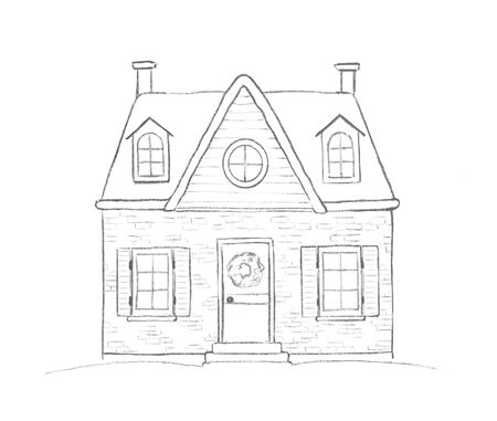 Graphic pencil sketch with old house in the village. Hand drawn illustration