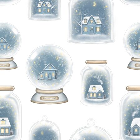 Seamless pattern with winter houses in snowballs decoration snowflakes and sparkles isolated on white background. Hand drawn illustration Stock Photo