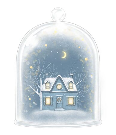 Winter house in glass cap decoration snowflakes and sparkles on white background. Hand drawn illustration Stock Photo