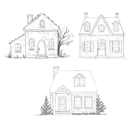 Set of three pencil sketches houses isolated on white background. Hand drawn illustration
