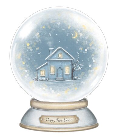 Winter house in snowball decoration snowflakes and sparkles isolated on white background. Hand drawn illustration Stock Photo