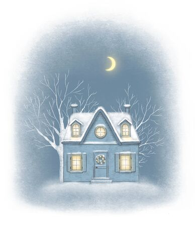Sketch in blue colors with winter old house in the village. Hand drawn illustration Banco de Imagens