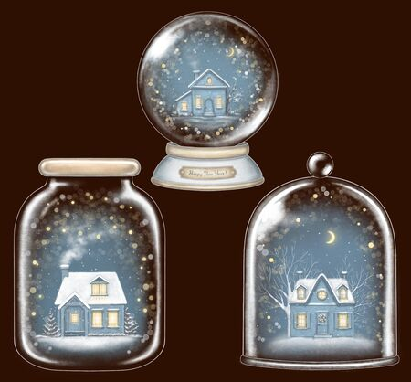 Set of three winter houses in glass souvenirs decoration snowflakes