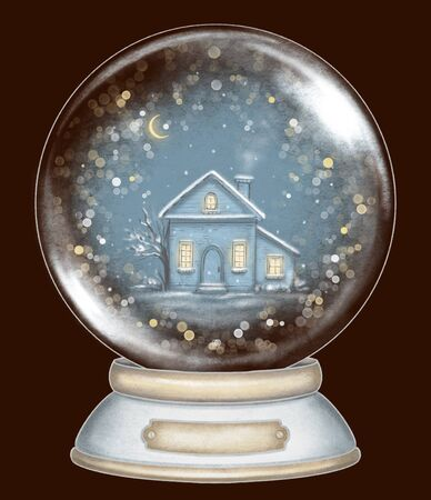 Winter house in snowball decoration snowflakes and sparkles on dark blue background. Hand drawn illustration Banco de Imagens