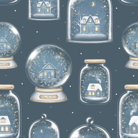 Seamless pattern with winter houses in snowballs decoration snowflakes and sparkles isolated on dark blue background. Hand drawn illustration Banco de Imagens