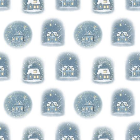 Seamless pattern with winter village houses isolated on white background. Hand drawn illustration Banco de Imagens