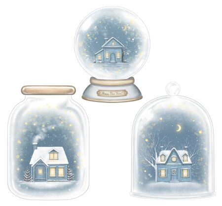 Set of three winter houses in glass souvenirs decoration snowflakes.