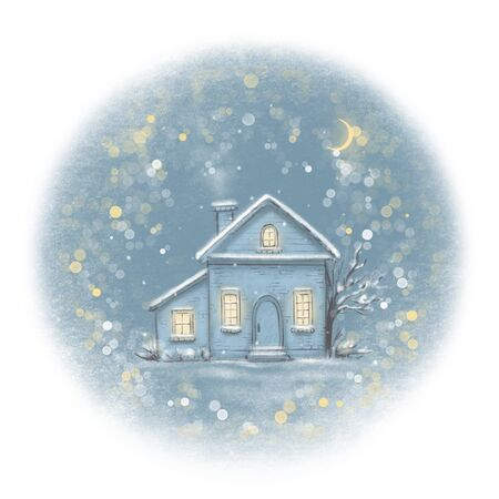 Sketch in blue colors with winter old house in the village. Hand drawn illustration Stock Photo