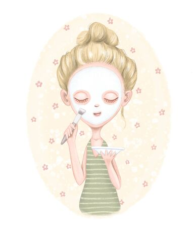 Young girl puts cosmetic mask on face with brush on beige floral background. Digital graphic hand drawn illustration