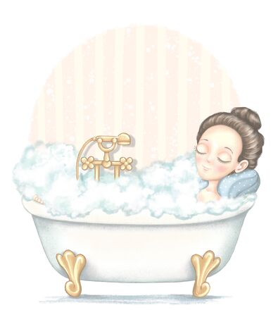 Young girl lies in bathtub full foam and enjoys on beige and pink wallpaper background. Digital graphic hand drawn illustration