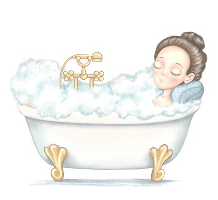 Young girl lies in bathtub full foam and enjoys isolated on white background. Digital graphic hand drawn illustration