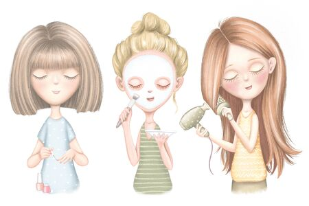 Set with three young girls who dries hair, puts on a face mask and paints nails isolated on white background. Digital graphic hand drawn illustration Фото со стока