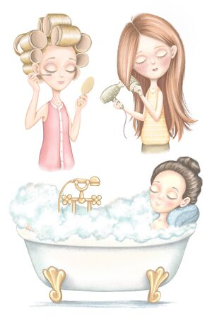 A set with three young girls who dries hair, does makeup and lies in bathroom isolated on white background. Digital graphic hand drawn illustration