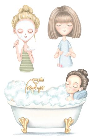 A set with three young girls who puts on a face mask, paints nails and lies in bathroom isolated on white background. Digital graphic hand drawn illustration Banco de Imagens
