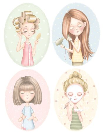 Set with four young girls who dries hair, does makeup, puts on a face mask and paints nails on color pattern. Digital graphic hand drawn illustration isolated on white background