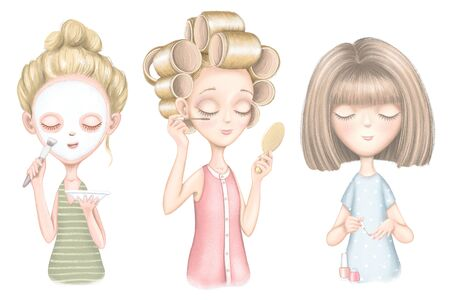 A set with three young girls who puts on a face mask, paints nails and  does makeup isolated on white background. Digital graphic hand drawn illustration Banco de Imagens