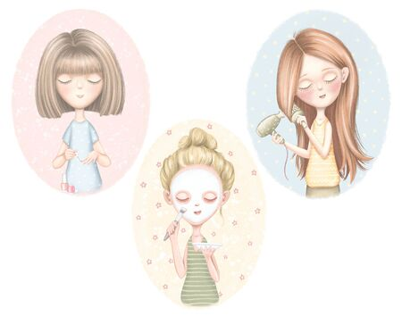 Set with three young girls who dries hair, puts on a face mask and paints nails isolated on color pattern. Digital graphic hand drawn illustration Banco de Imagens