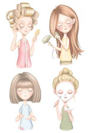 Set with four young girls who dries hair, does makeup, puts on a face mask and paints nails isolated on white background Digital graphic hand drawn illustration