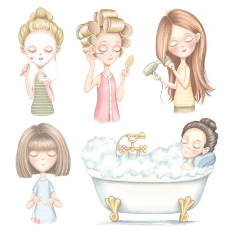 Set with five young girls who dries hair, does makeup, puts on a face mask, lies in bathroom and paints nails isolated on white background. Digital hand drawn illustration Reklamní fotografie