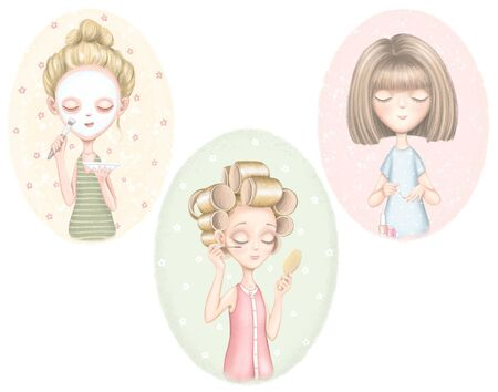 A set with three young girls who puts on a face mask, paints nails and does makeup on color pattern. Digital graphic hand drawn illustration isolated on white background