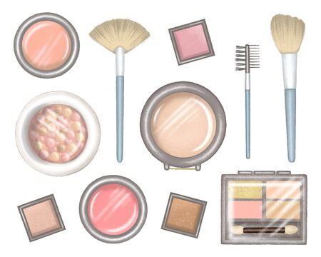 Big set of different packages for decorative cosmetics. Blank template of containers for eye shadow, blush and brush. Digital hand drawn illustration isolated on white background