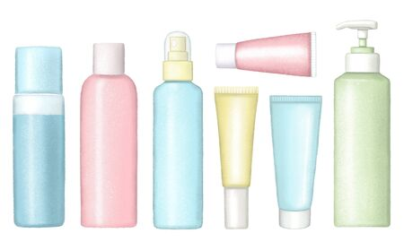 Set of different cartoon bottles for body care cosmetics. Digital hand drawn illustration isolated on white background 写真素材
