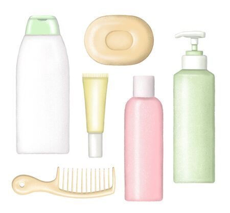 Set of different cartoon bottles for body care cosmetics, comb and solid soap. Digital hand drawn illustration isolated on white background