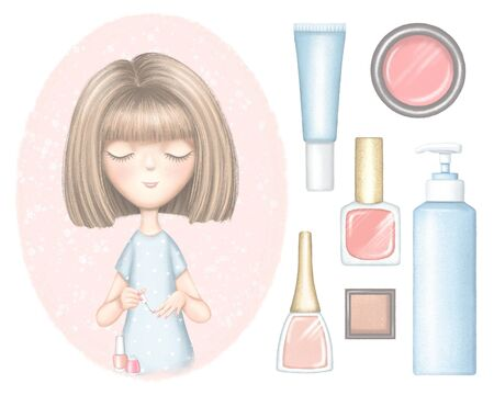 Set of cartoon young girl paints nails, nail polishes and bottles for cosmetics. Digital graphic hand drawn illustration isolated on white background