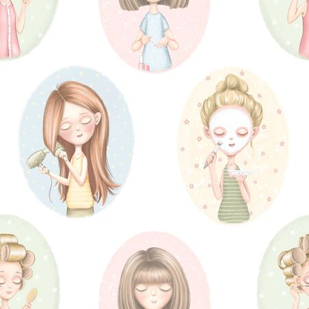 Seamless pattern with four young girls who dries hair, does makeup, puts on a face mask and paints nails on color pattern. Digital graphic hand drawn illustration isolated on white background Stockfoto - 133346865