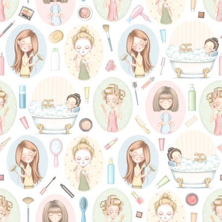 Seamless pattern with five cartoon girls who do beauty treatments on color pattern and various cosmetics. Digital graphic hand drawn illustration isolated on white background