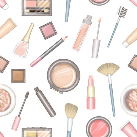 Big set of cartoon different packages for decorative cosmetics. Digital hand drawn illustration isolated on white background